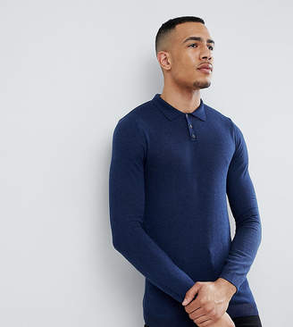 Asos Design TALL Muscle Fit Knitted Polo in Navy