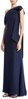 Tadashi Shoji Cassia Colorblock Bow-Shoulder Crepe Gown