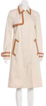 Prada Leather-Trimmed Long Coat