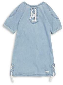 7 For All Mankind Girl's Lace-Up Denim Dress