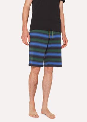 Paul Smith Men's Black Stripe Jersey Cotton Lounge Shorts