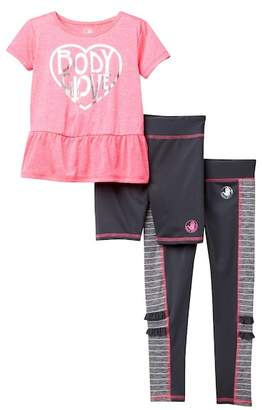 Body Glove Tee, Legging, & Shorts Set (Little Girls)