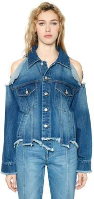 SteveJ & YoniP Asymmetrical Destroyed Denim Jacket