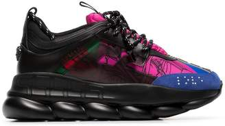 Versace black and multicoloured Chain Reaction sneakers