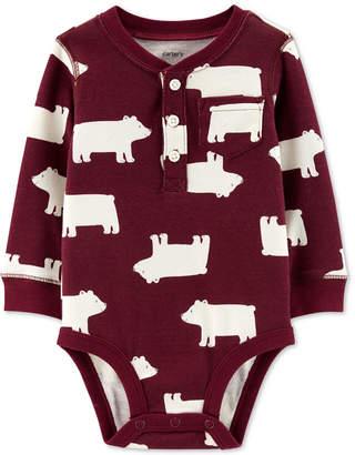 Carter's Baby Boys Polar Bear-Print Cotton Henley Bodysuit