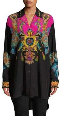 Etro Printed Silk High-Low Tunic Top