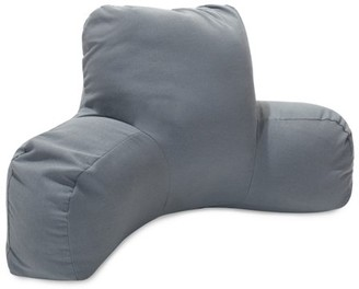 Majestic Home Goods Indoor Outdoor Gray Solid Reading Pillow with Arms Backrest Back Support for Sitting 33 in L x 6 in W x 18 in H