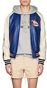 Gucci Men's Bird-Embroidered Leather Baseball Jacket - Navy