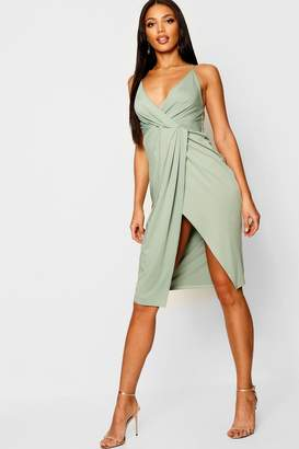 boohoo Strappy Wrap Detail Midi Dress