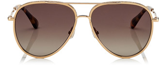 Jimmy Choo TRINY Brown Shaded Polorized Aviator Sunglasses with Gold Metal Frame