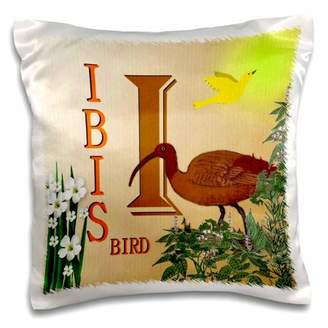 3dRose Decorative Animal Alphabet Art for children - I is for an Ibis Bird in the park - Pillow Case, 16 by 16-inch