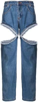 Telfar cut-detail boyfriend jeans