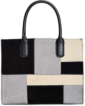 Giani Bernini Womens Suede Patchwork Tote Handbag Black Large