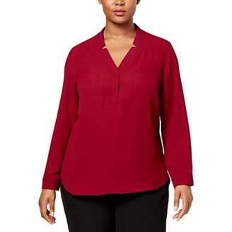 Nine West Women's Plus Size Long Sleeve Two Pocket Blouse (2)