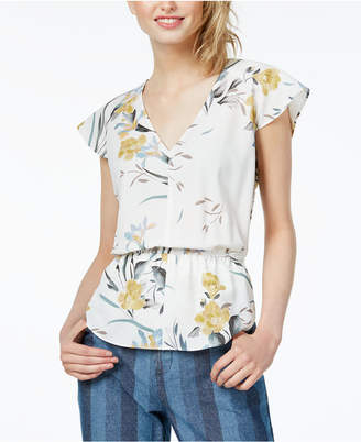 Bar III Floral-Print Smocked-Waist Top, Created for Macy's