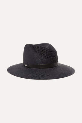 Rag & Bone Zoe Leather-trimmed Straw Fedora