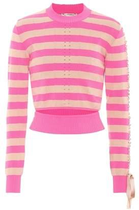 Fendi Pointelle-knit striped top