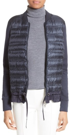 Moncler Women's Moncler Maglia Quilted Down Front Tricot Bomber