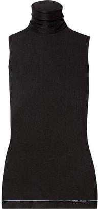 Prada Ribbed Silk Turtleneck Top - Black
