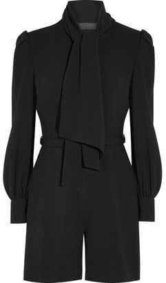 Co - Pussy-bow Crepe Playsuit - Black $695 thestylecure.com