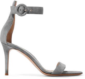 Gianvito Rossi Portofino 85 Suede Sandals - Light gray