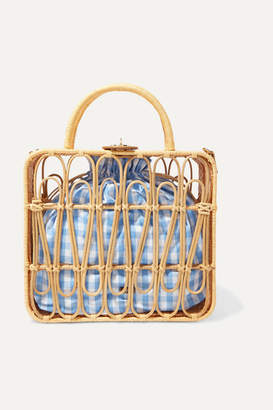 Kayu Safia Leather-trimmed Rattan And Gingham Cotton-canvas Tote - Beige