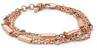 Fossil Glitz Bar Multi-Chain Rose Gold-Tone Brass Bracelet