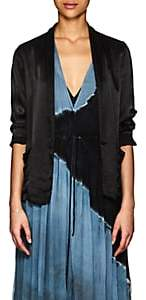 Raquel Allegra Women's Satin Shrunken Blazer - Black