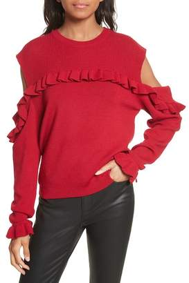 The Kooples Ruffle Cold Shoulder Merino Wool Sweater