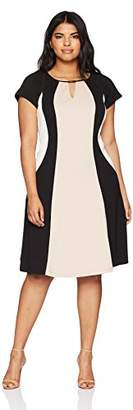 Sandra Darren Women's Plus Size Short Sleeve Printed Color Block Fit and Flare Dress