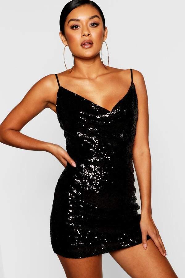 Sequin Cowl Neck Bodycon Dress
