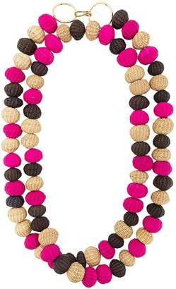 Carolina Herrera raffia beads long necklace