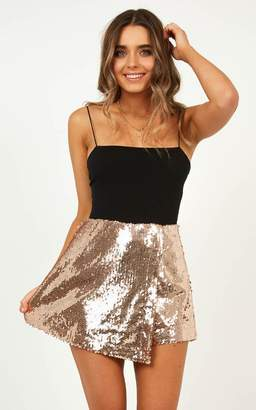 Showpo We Think Its Love Skort in Rose Gold Sequin