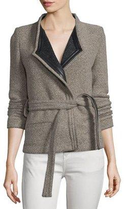 Iro Awa Belted Tweed Jacket, Beige/Black $865 thestylecure.com