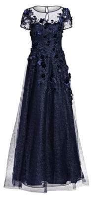 Cap-Sleeve Appliqué Tulle A-Line Gown