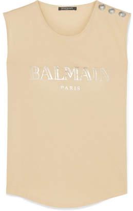 Balmain Button-embellished Printed Cotton-jersey Tank - Beige