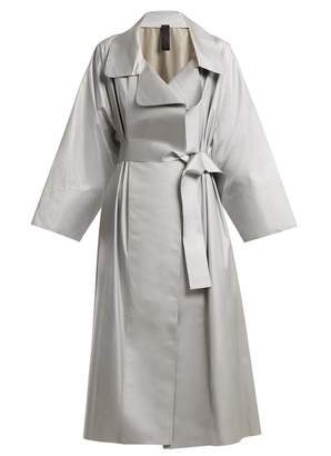 Norma Kamali Tie-waist reflective trench coat