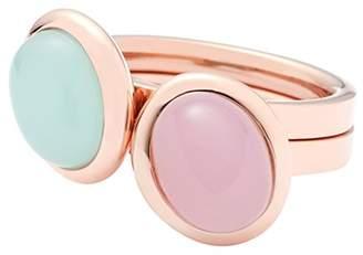 Leonardo JEWELS BY women Set/2 ring 18 Beato stainless steel/rosegold glass pink mint size 57 (18.1) 016257