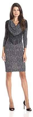 MSK Women's Cowl Neck Long Sleeve Short Dress with Fringe, /Cream