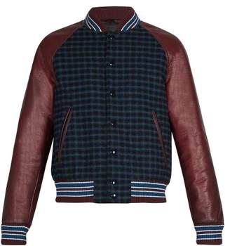 Prada Leather Sleeve Checked Wool Bomber Jacket - Mens - Burgundy Multi