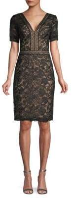 Tadashi Shoji Two-Tone Lace Cocktail Dress