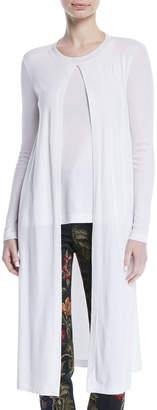 Rosetta Getty Split-Front Long-Sleeve Mercerized Cotton Rib Jersey Cardigan