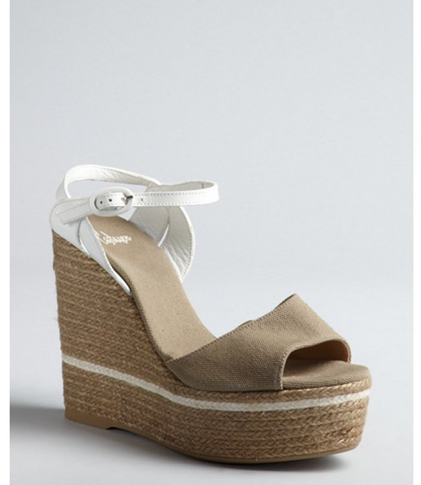 Castaner oatmeal canvas, leather and jute 'Isolda' wedge espadrilles