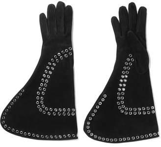Alexander McQueen Eyelet-embellished Suede Gloves - Black