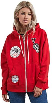 Volcom Junior's Travel Ban Oversized Zip Up Hooded Sweatshirt