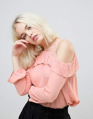 Hazel Frill And Lace Cold Shoulder Blouse