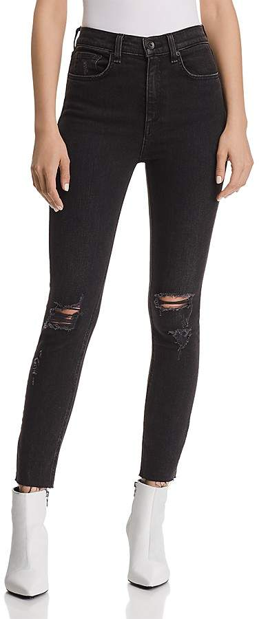 rag & bone/JEAN High-Rise Distressed Ankle Skinny Jeans in Rock With Holes