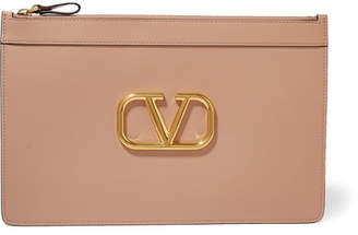 Valentino Garavani Vee Ring Large Leather Pouch - Pink