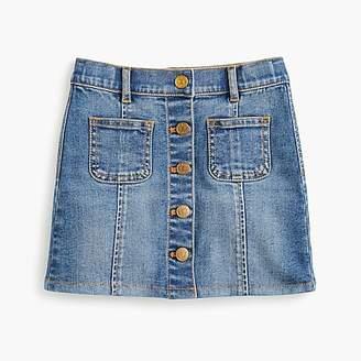 J.Crew Girls' button-front denim skirt