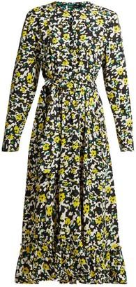 Proenza Schouler Floral Print Crepe Midi Dress - Womens - Black Multi